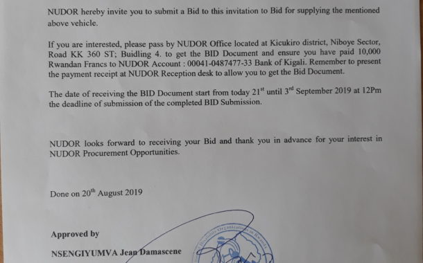 Letter of invitation to Submit Bids to NUDOR for Supplying new vehicle
