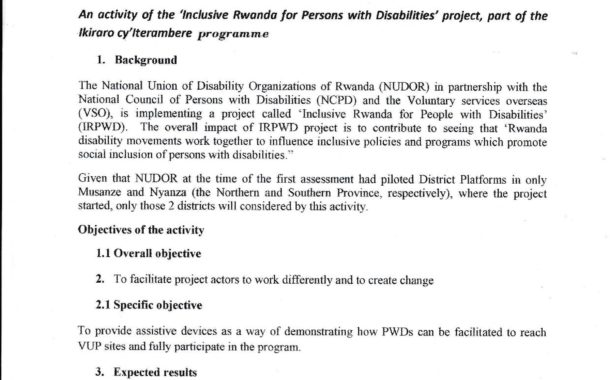 TERMS OF REFERENCE TO HIRE A FIRM TO PROVIDE ASSISTIVE DEVICES TO PWDS IN MUSANZE AND NYANZA Districts