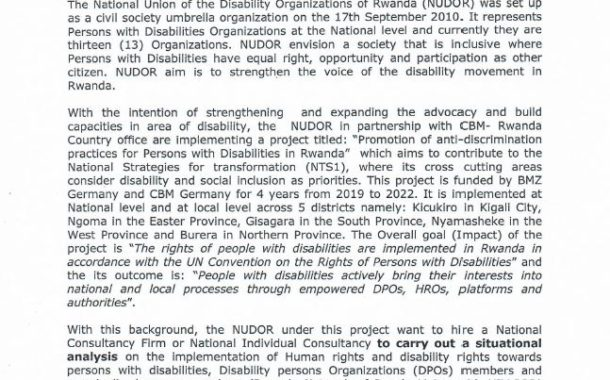 TERMS OF REFERENCE FOR NATIONAL CONSULTANCY TO CARRY OUT A SITUATIONAL ANALYSIS AND COLLECT REPORTS ON CASES OF DISCRIMINATION AGAINST PEOPLE WITH DISABILITIES AND MARGINALIZED GROUPS
